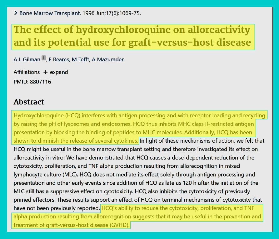 Hydroxychloroquine COVID Graft-Versus-Host Disease Q Plus News