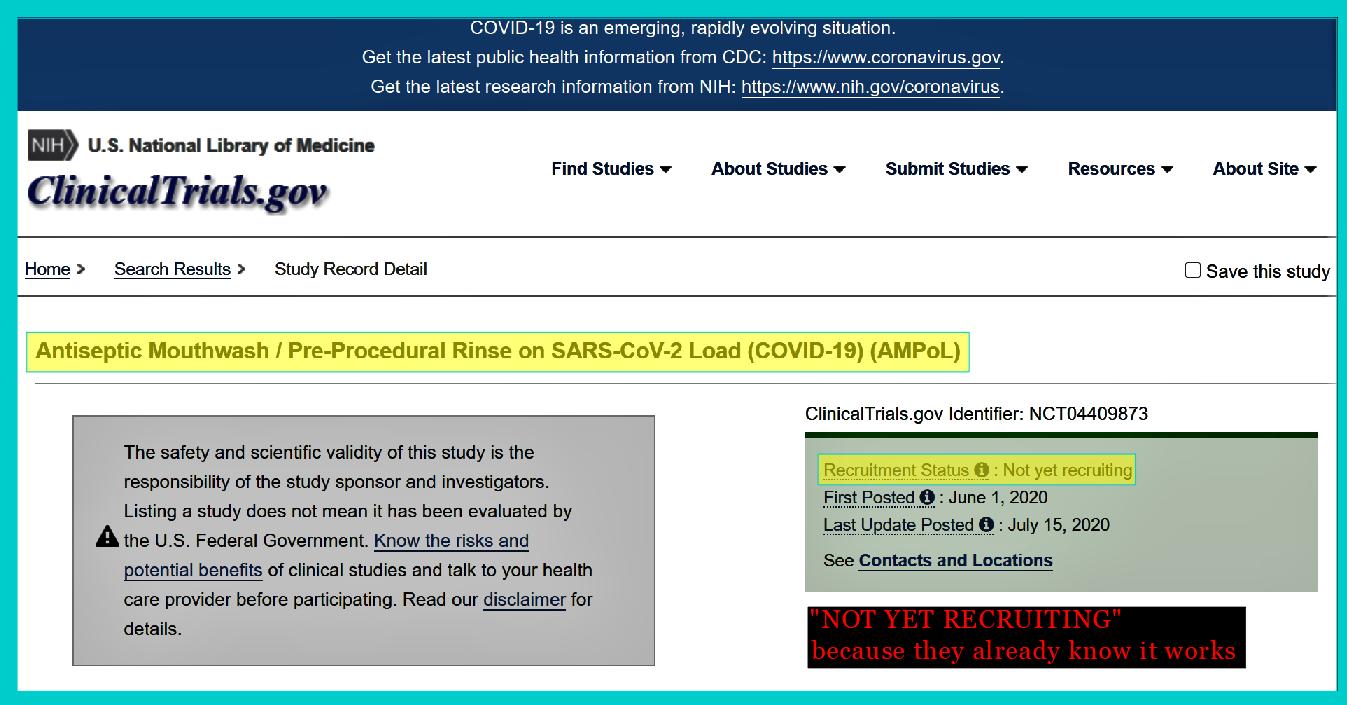 CloSYS Mouthwash SARS-CoV-2 Chlorine Dioxide COVID