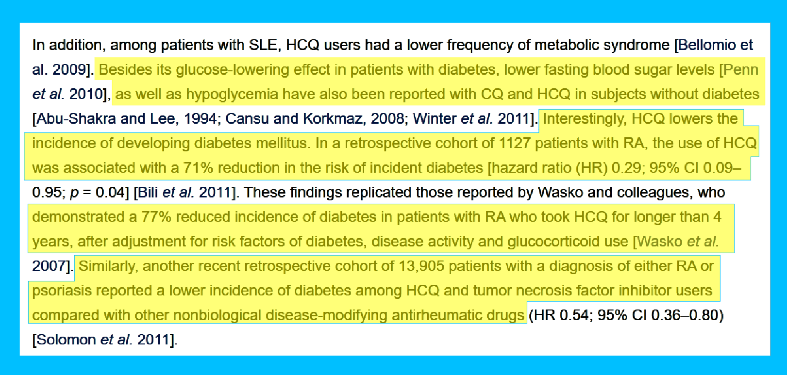 Hydroxychloroquine Cures Type 2 Diabetes