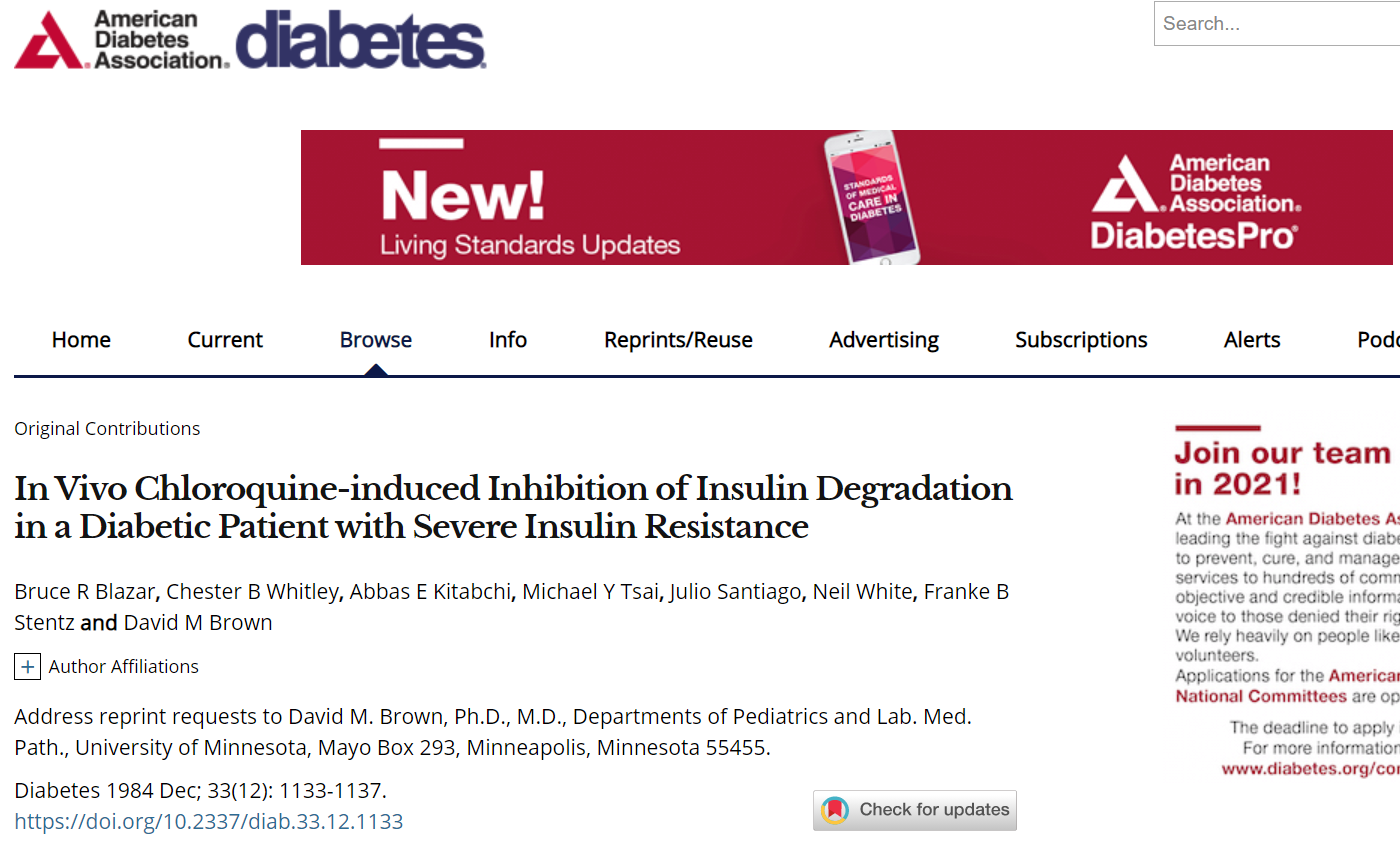 QPlusNews, HYDROXYCHLOROQUINE EFFECTIVE FOR TYPE 1 DIABETES